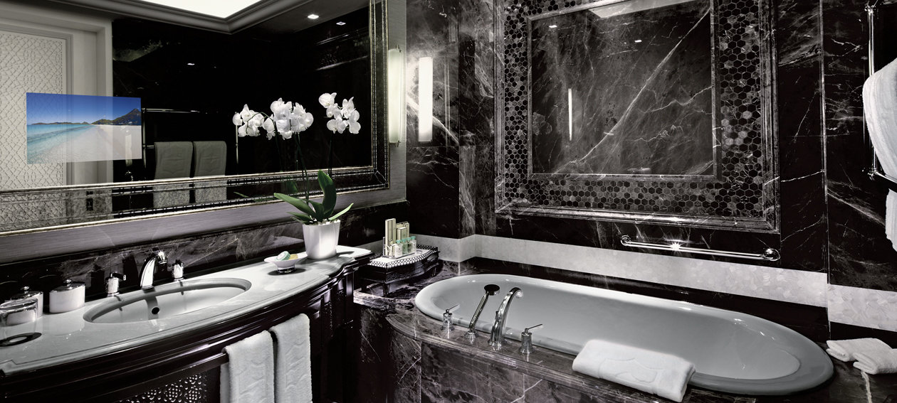 """18.5"""" Mirror TV for hospitality application, installed in a bathroom environment @ Shangri La Istanbul in Turkey."""