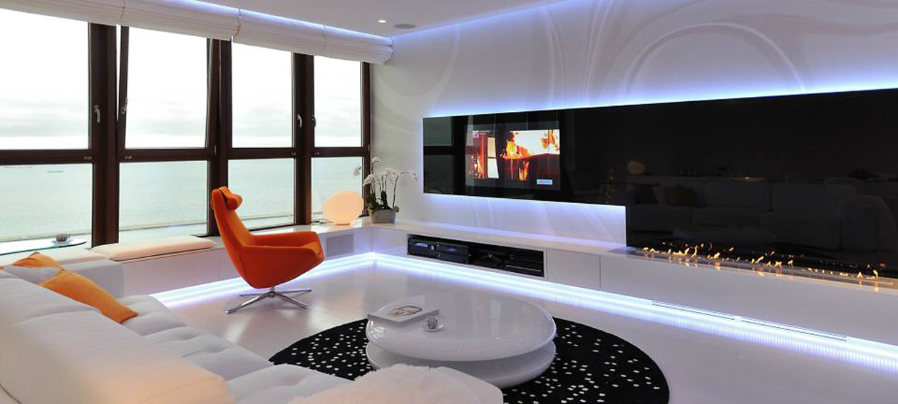 55.0'' Glass TV for residential application, installed in a living room environment @ SEA TOWER - Gdynia in Poland.