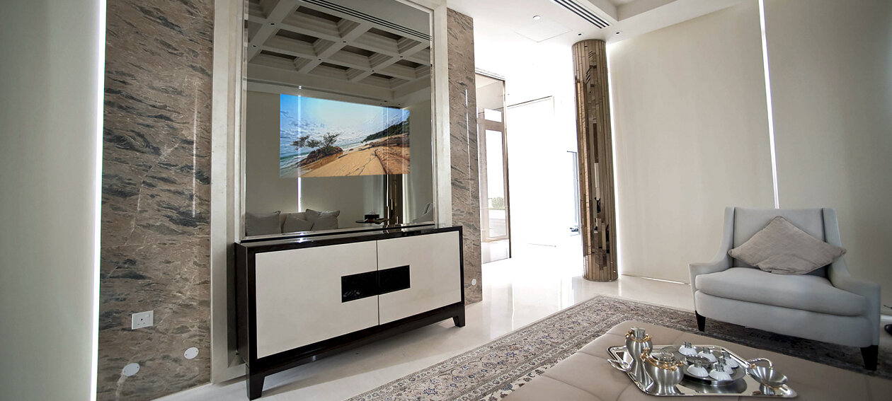 "55.0"" Mirror TV for residential application, installed in a living room @ Ritz residence in Singapore."